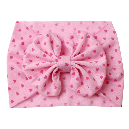 Pink Hearts - Fabric Bow Headwrap
