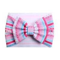 Pink + Blue Tribal - Liverpool Bow Headwrap