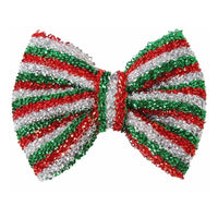 "Merry Stripes - 5"" Tinsel Christmas Bow"