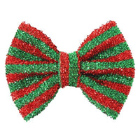 "Red + Green - 5"" Tinsel Christmas Bow"