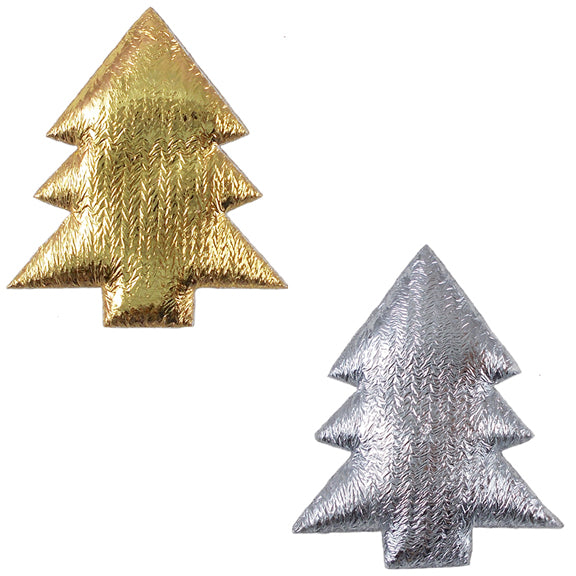 "Gold Christmas Tree - 1.5"" Padded Applique"