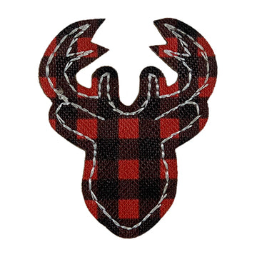 "Buffalo Plaid Deer - 2"" Faux Leather Applique"