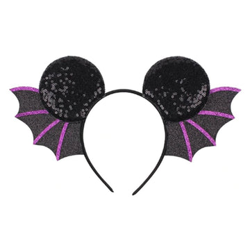 "Black & Purple Vampire Bat - 3.25"" Sequins Mouse Ears Headband"