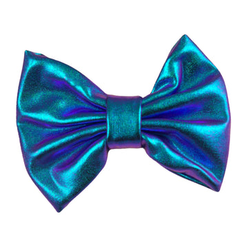 "Blue Iridescent - 5"" XL Shiny Metallic Bow"