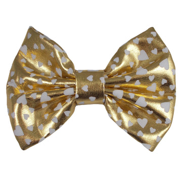 "Gold & White Hearts - 5"" XL Shiny Metallic Bow"