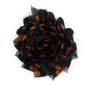 "Black & Orange Polka Dots - 2.5"" Printed Shabby Trim"