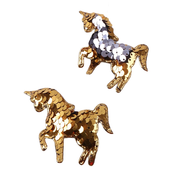 "Gold & Silver Reversible Sequins Unicorn - 2.5"" Padded Applique"