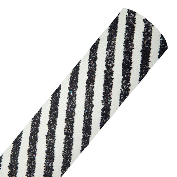 Black Diagonal Stripes - Chunky Glitter Fabric Sheet