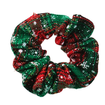 Christmas Plaid + Snowflakes - Fabric Scrunchie