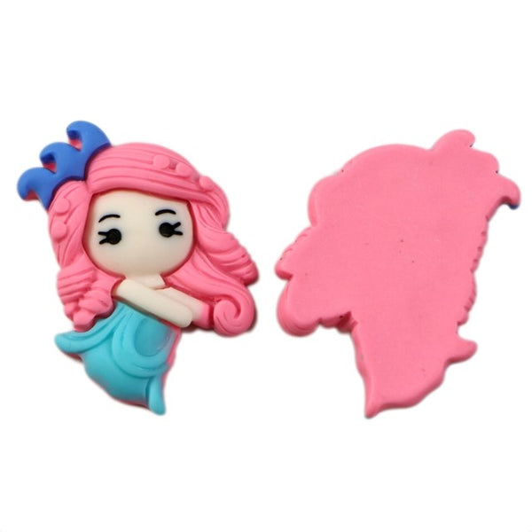 "Blue + Pink Princess - 1.25"" Resin Applique"