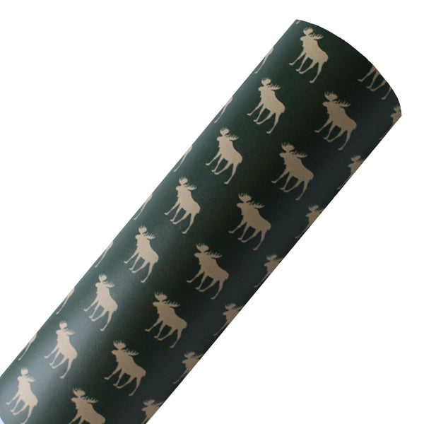 Moose on Green - Custom Printed Smooth Faux Leather Sheet