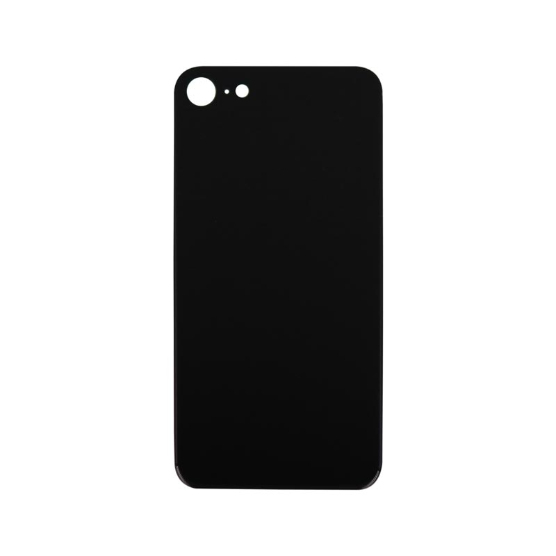 (Big Hole) Glass Back Cover for iPhone 8 (No Logo) (Black)