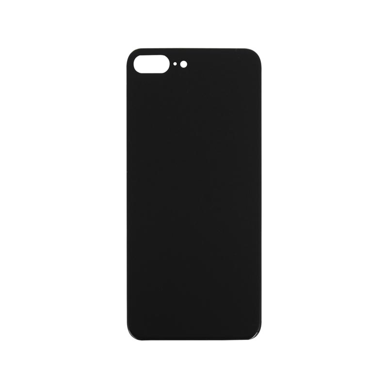 (Big Hole) Glass Back Cover for iPhone 8 Plus (No Logo) (Black)