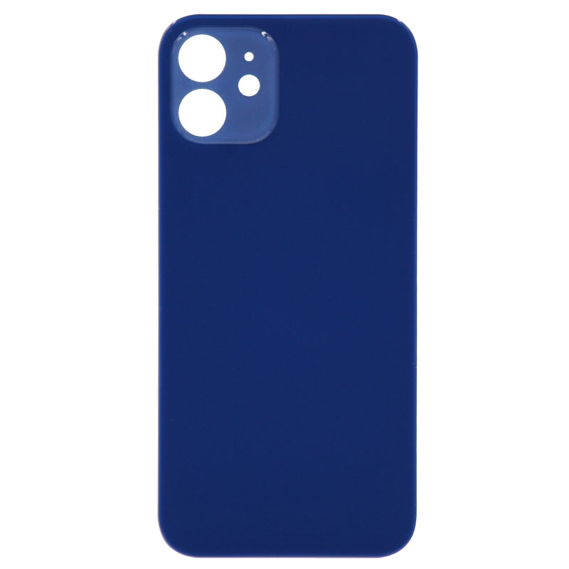(Big Hole) Glass Back Cover for iPhone 12 (No Logo) (Blue)