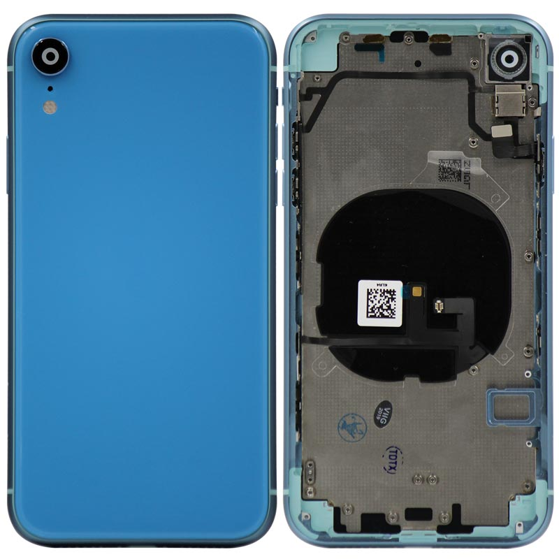 Glass Back Cover with Housing for iPhone XR (No Logo) (Blue)