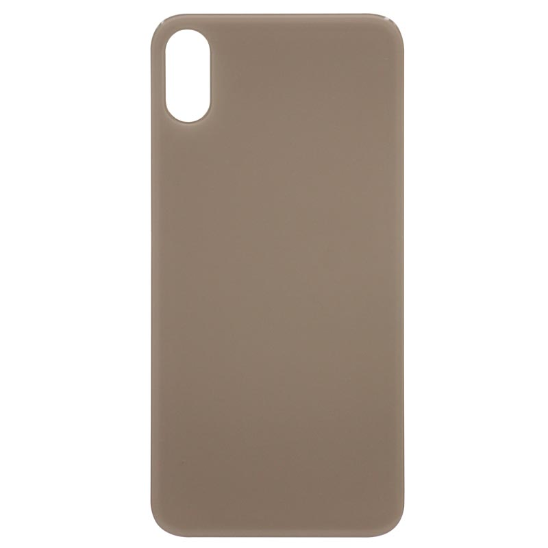 (Big Hole) Glass Back Cover for iPhone XS (No Logo) (Gold)
