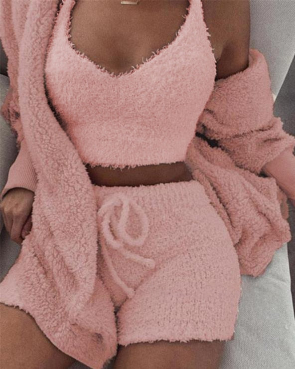 3PCS Women Pajamas Set Autumn Winter Warm Coral Velvet Pajamas Sleepwear Homewear Pyjamas Solid Color Hoodies Shorts Set M-3XL