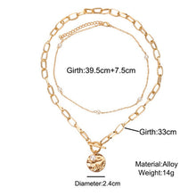 Load image into Gallery viewer, 2PCS Necklace Women White Pearl Bead Choker + Coin Chain Golden Color Necklace Multilayer Pendant Necklaces Jewelry Accessories