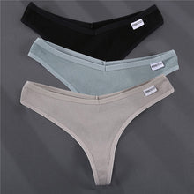 Load image into Gallery viewer, 3PCS/Set G-string Panties Cotton Women's Underwear Sexy Panties Female Underpants Thong Solid Color Pantys Lingerie M-XL Design