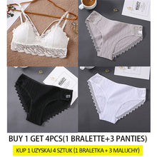 Load image into Gallery viewer, Lace Bra Set Women Bralette Underwear Female Brassiere + 3PCS Cotton Panties Sets Solid Color Push Up Bras Lingerie Tank Tops