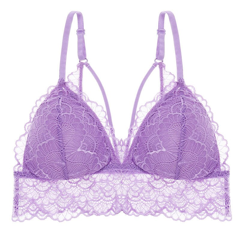 Sexy Deep V Floral Lace Bras Bralette Women Intimates Ultra Thin Belt Lingerie Wirefree Seamless Underwear Back Butterfly 2019