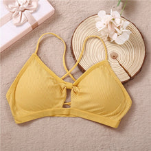 Load image into Gallery viewer, Sexy Women Crop Top Female Underwear Back Cross Strap Beauty Tank Crop Tops Padded Camisole Bowknot Lingerie Intimates Bralette