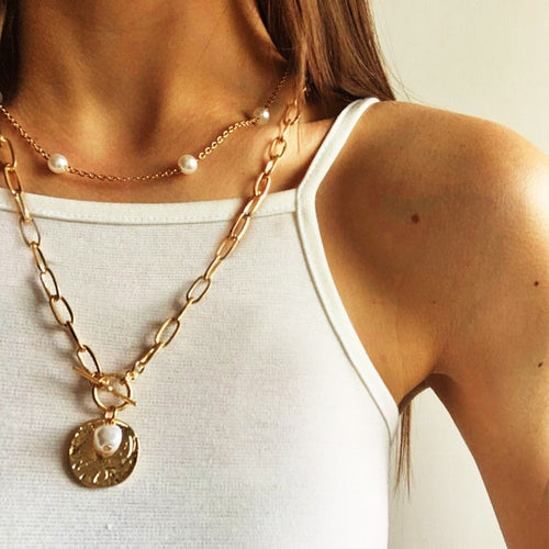 2PCS Necklace Women White Pearl Bead Choker + Coin Chain Golden Color Necklace Multilayer Pendant Necklaces Jewelry Accessories