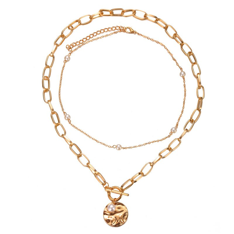 2PCS Necklace Women White Pearl Bead Choker + Coin Chain Golden Color Necklace Multilayer Pendant Necklaces Jewelry Accessories (golden)