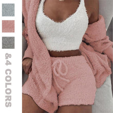Load image into Gallery viewer, 3PCS Women Pajamas Set Autumn Winter Warm Coral Velvet Pajamas Sleepwear Homewear Pyjamas Solid Color Hoodies Shorts Set M-3XL