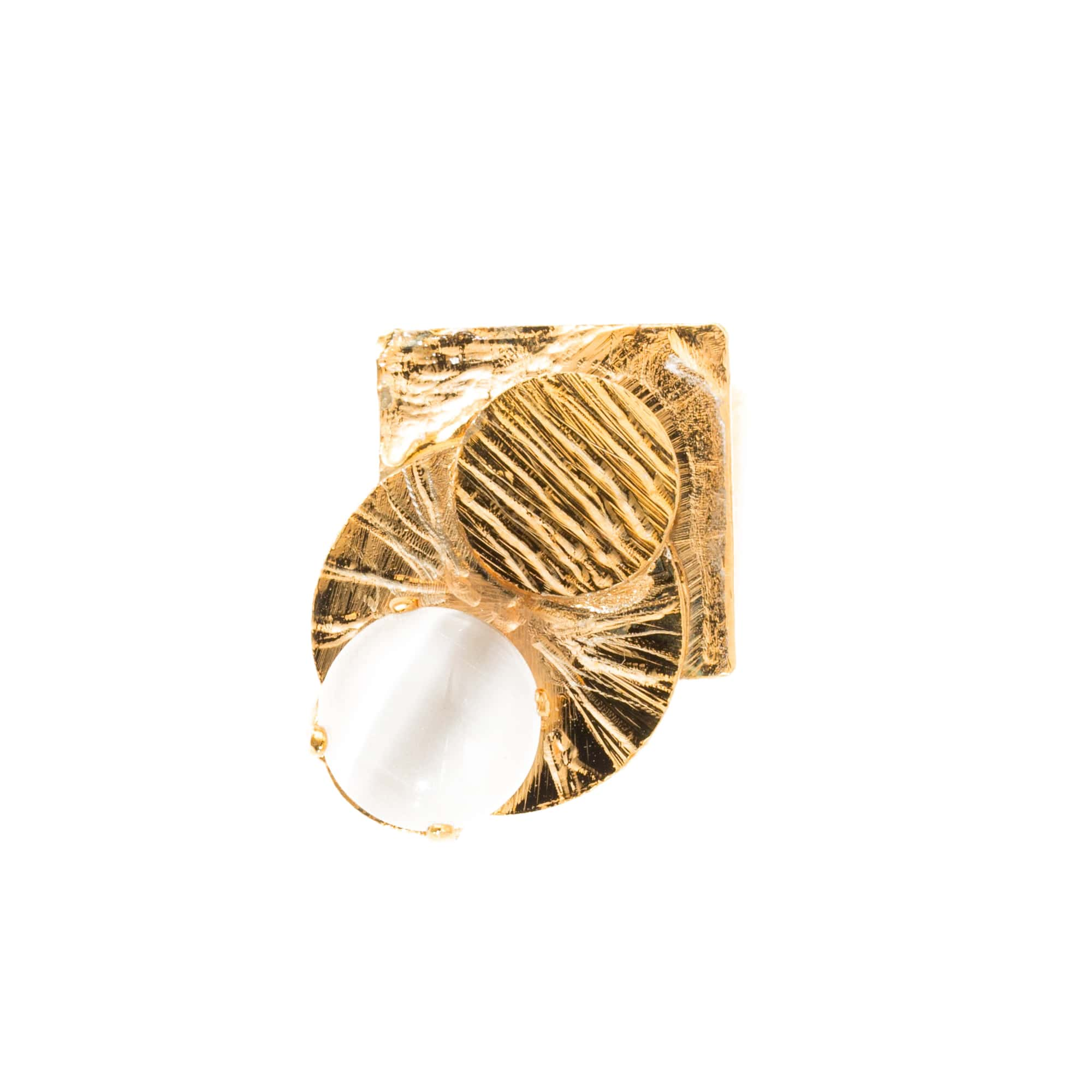 Mondrian Ring With White Crystal - Bona Tondinelli Bijoux