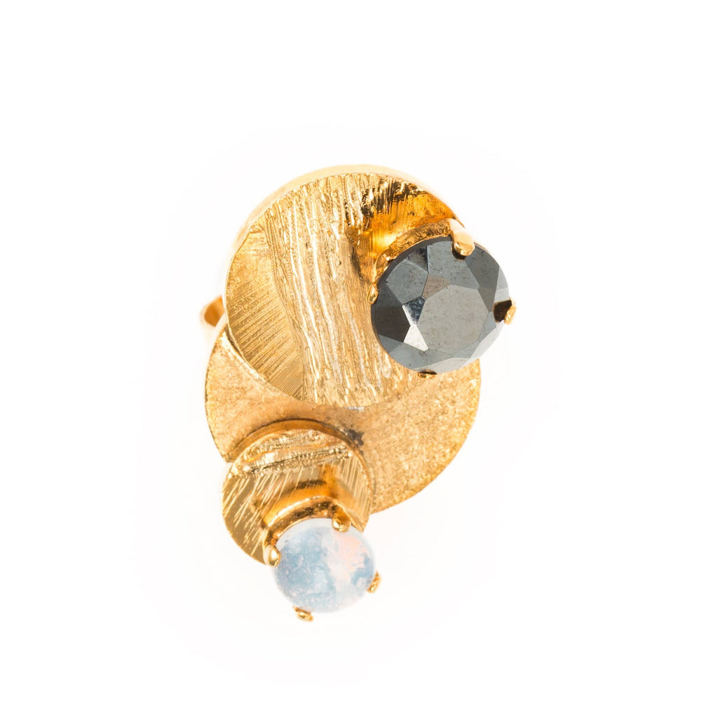 Mondrian Ring With Black & White Crystals - Bona Tondinelli Bijoux