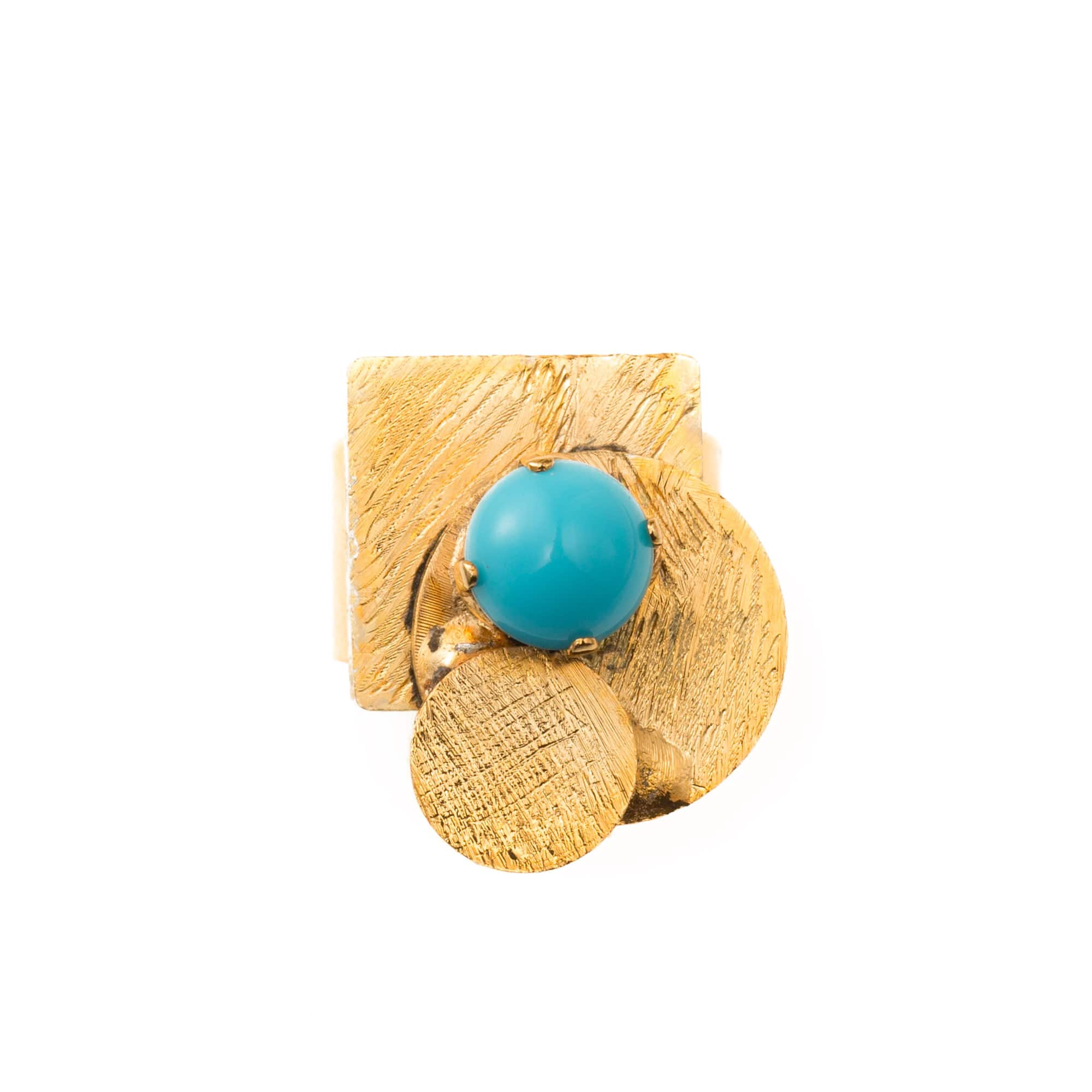 Mondrian Ring With Light Blue Crystals - Bona Tondinelli Bijoux