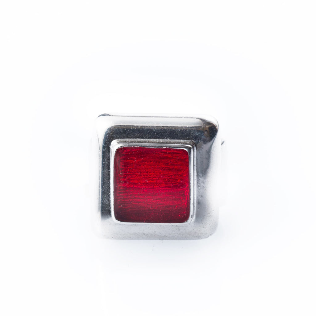 Rhodium-Plated Silver Ring And Red Enamel - Bona Tondinelli Bijoux