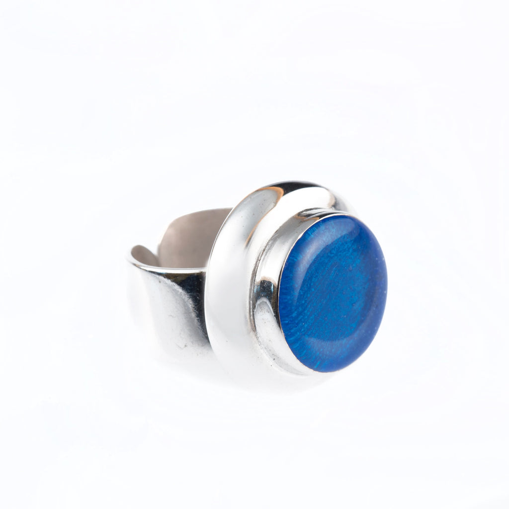 Rhodium-Plated Silver Ring And Enamel - Bona Tondinelli Bijoux