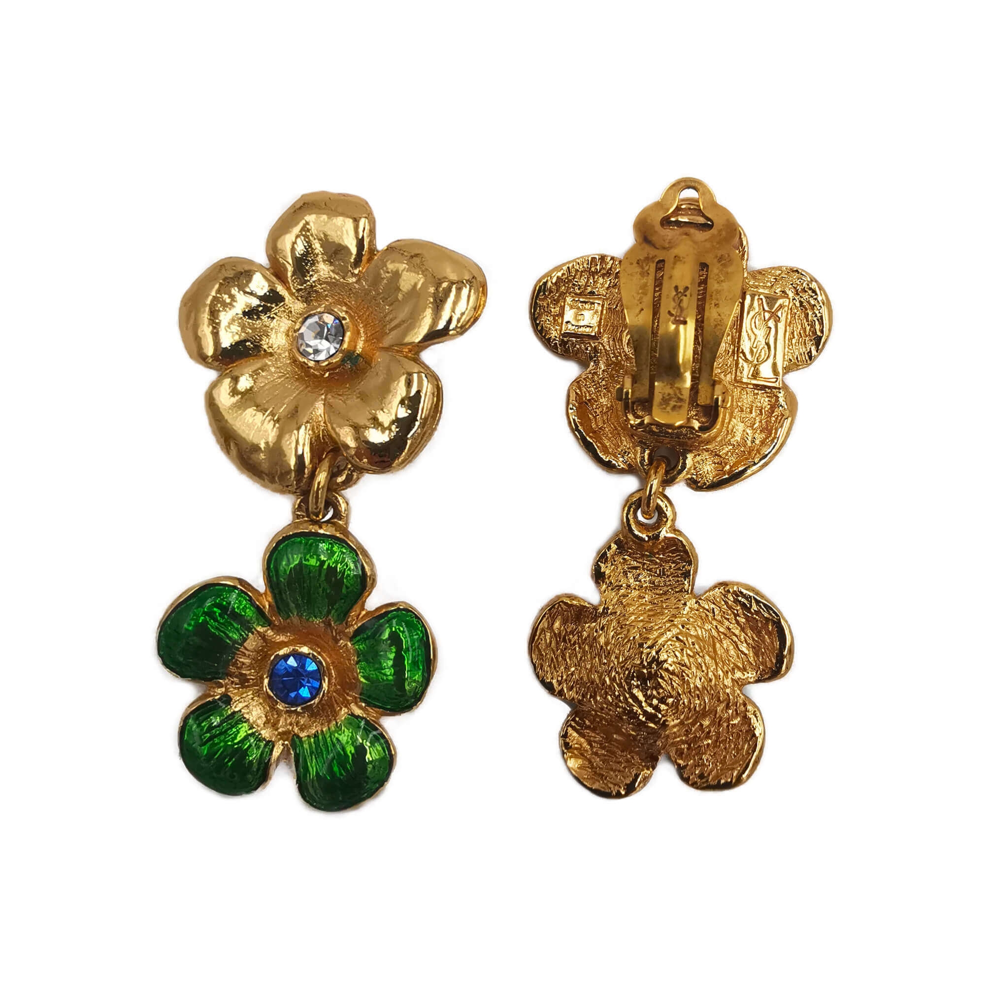 Yves Saint Laurent Flowers Clip Earrings - Bona Tondinelli Bijoux