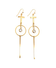 Load image into Gallery viewer, amira long gold cross hoop bar earrings