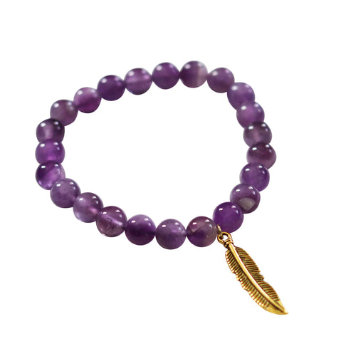 purple amethyst gemstone stretch bracelet gold feather charm