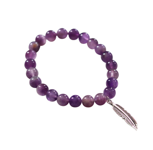 amethyst healing crystal beaded stretch stacking bracelet silver feather charm