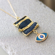 Load image into Gallery viewer, blue kyanite evil eye pendant