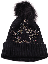 Load image into Gallery viewer, Black Star Beanie Hat