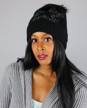 Load image into Gallery viewer, Black Rhinestone Star Beanie Hat