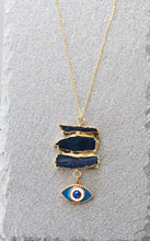 Load image into Gallery viewer, blue kyanite evil eye necklace