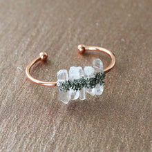 Load image into Gallery viewer, Rose Gold Clear Quartz Pyrite Cuff Bracelet