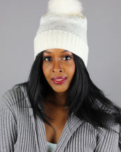 Load image into Gallery viewer, White rhinestone fur pom trendy hat
