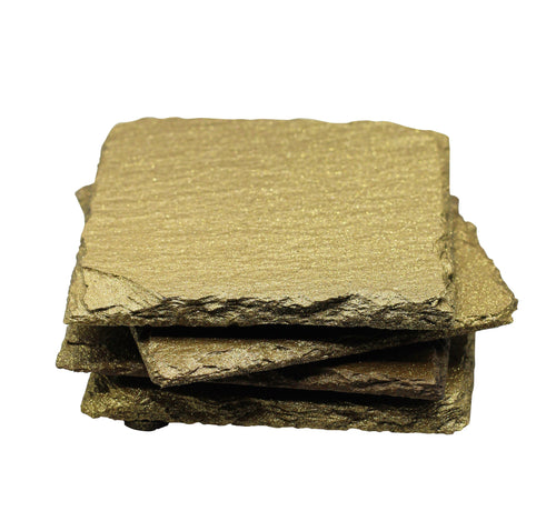 Gold Glitter Slate Coasters Set Of 4 - T. Victoria
