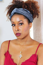 Load image into Gallery viewer, grey velvet turban headband headwrap natural hair