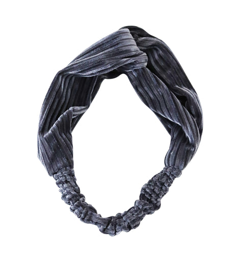 grey velvet twist headband