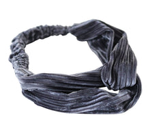 Load image into Gallery viewer, grey velvet ribbed stretch turban twist headband