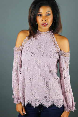 lavender lace cold shoulder top