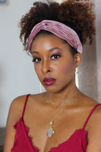 Load image into Gallery viewer, dusty rose pink knot twist velvet stretch headband